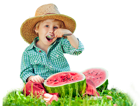 kid eating water melon