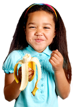 Girl eating a banana